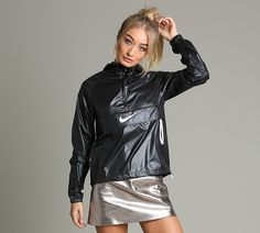 Nike From UK 107168 - Womens Packable Jacket - Womens Clothing Black. Coats For Women, Jackets For Women, Clothes For Women, Stella Mccartney, Satin Dressing Gown, Nike Running Jacket, Nylons, Sequin Outfit, Packable Jacket