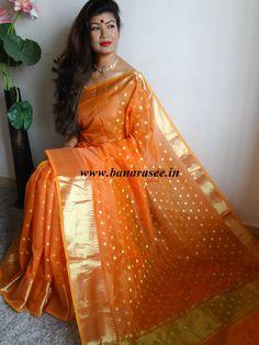 Banarasee Chanderi Cotton Zari Polka Dots With Skirt Border - Orange