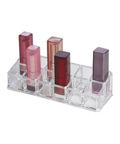 I could definitely use this! This Clear 12-Compartment Lipstick Tray is perfect! #zulilyfinds
