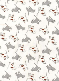 Monica Lee, The Neighborhood, Kitty Toss White Fabric - By the Yard. $8.25, via Etsy.