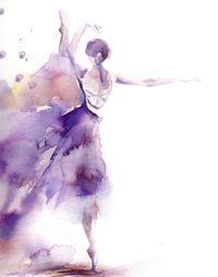 Ballerina Watercolor Painting Art Print, Purple Ballet Dance Watercolor Modern Art