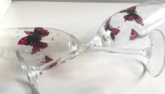Butterflies, prosecco glass, Valentine's gift, Mother's Day gift, wedding gift, butterfly, champagne flute, special friend gift, birthday by DragonflyArtDesign1 on Etsy