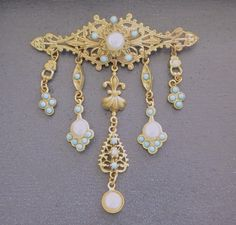 Victorian Revival Brooch Filigree Dangle Pin Pearl Turquoise Heraldic Jewelry…