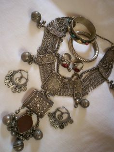 Solid silver handmade Bedouin jewelry | Often made for a bride to show her wealth and status.