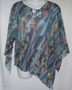 Zoey Beth Plus Blouse Size 1X Sheer Top Blues Floral Print Made in America free shipping