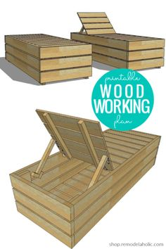 DIY Outdoor Lounge Chair with Storage Woodworking Plans - Modern Design Outdoor Furniture Plans, Diy Furniture Plans Wood Projects, Diy Pallet Furniture, Woodworking Projects Plans, Diy Woodworking, Lounge Furniture, Diy Patio Furniture Cheap, Homemade Outdoor Furniture, Farmhouse Furniture