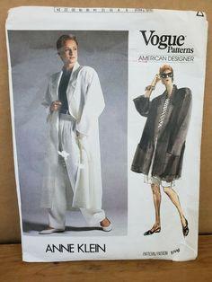 Vogue 1706 Designer Anne Klein COAT SHORTS PANTS TOP sewing Pattern Uncut Sz 12 Tunic Sewing Patterns, Coat Patterns, Mccalls Patterns, Kwik Sew, Duster Jacket, Pant Shirt, Anne Klein, Vogue, Suits