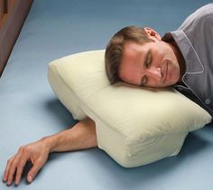 Perfect pillow for every type of sleeper. Uniquely designed with a lateral recess along the entire length of the pillow and a center tunnel for alternative arm positions.