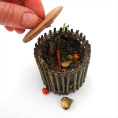 Miniature Garden Compost Bin for Mini Gardens Dollhouse by Janit, $18.99