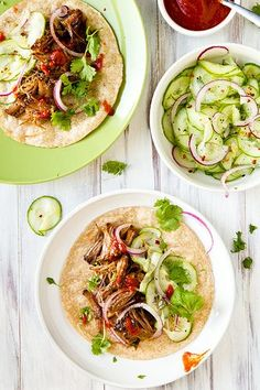 Korean Beef Tacos with Cucumber Slaw.  I'm always looking for more crock pot recipes that don't require a can of goup.
