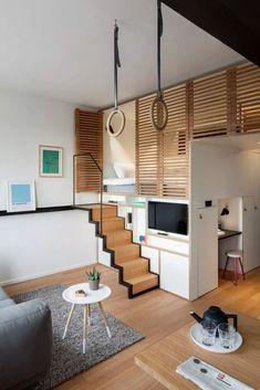Small Loft Apartments, Small Apartment Interior, Small Space Interior Design, Small Room Design, Tiny House Design, Apartment Design, Interior Design Kitchen, Loft House, House Rooms