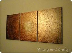 DIY metallic three-paneled artwork using canvas, plaster, and acrylic paint: a photo tutorial.