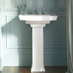 "pedestal sink pictures | Kohler Archer Pedestal Bathroom Sink with 8"" Widespread Faucet Holes ..."