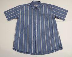 Lacoste Blue/White Stripe Short Sleeve Casual Shirt 43 Croc Logo Pocket  #Lacoste #ButtonFront