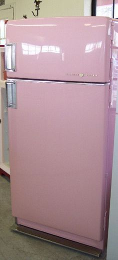 Vintage restored refrigerator (pink with sky blue interior!)