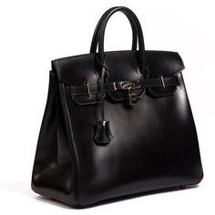 Hermes Birkin 35 Black in Box leather Year L ❤ liked on Polyvore featuring bags, handbags, shoulder bags, purses, leather shoulder bag, leather man bags, leather handbags, real leather purses and purse shoulder bag