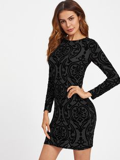 Shop Damask Print Keyhole Back Bodycon Dress online. SheIn offers Damask Print Keyhole Back Bodycon Dress & more to fit your fashionable needs. Prom Dress Shopping, Online Dress Shopping, Dress Online, Elegant Party Dresses, Cute Dresses, Tight Dresses, Valentines Day Dresses, New Years Eve Dresses, Mini Club Dresses