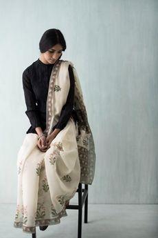 Goodearth - Amer Tulip Chanderi Saree