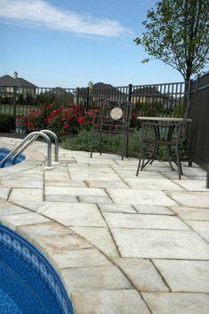 Unilock pool deck with Yorkstone paver