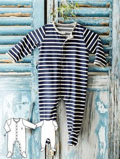 Sweet and super easy to pull on. This onesie with snaps is so easy and useful. #burdastyle #baby #onesie #sewing #diy
