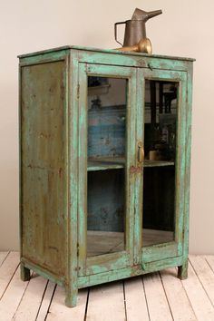 Antique Rustic Chic Bright Green Indian Bar Storage Kitchen Bathroom Cabinet Media Tower