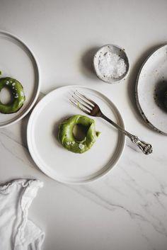 Brioche Doughnuts with Matcha White Chocolate Glaze