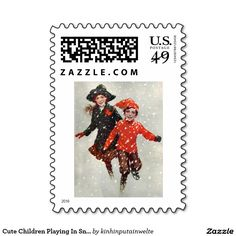 Cute Children Playing In Snow Postage Stamp