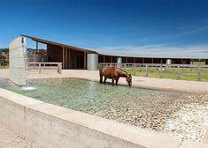 Australian equestrian centre has a curving rammed-earth wall