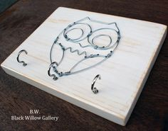 White Wired OWL Key chain rack holder WOOD by BlackWillowGallery, $20.00