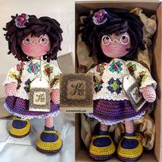 katxirula Crochet Doll Pattern, Crochet Art, Knit Or Crochet, Yarn Dolls, Knitted Dolls, Crochet Dolls, Doll Hair, Amigurumi Doll, Tricot