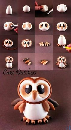 Fimo fondant pâte à sucre pâte damande. I did this for a Christmas cake and gave the owl a little santa hat and it The post 6 tutos doiseaux! Fimo fondant pâte à sucre pâte damande. appeared first on Salzteig Rezepte. Crea Fimo, Fimo Clay, Polymer Clay Charms, Polymer Clay Projects, Polymer Clay Creations, Clay Crafts, Diy And Crafts, Kids Crafts, Polymer Clay Tutorials