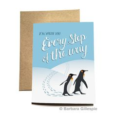 Show your support with this perky Penguin Encouragement Card. Available at flopsockdesigns on Etsy / Blank inside / Comes with a matching kraft paper envelope / Pin for later