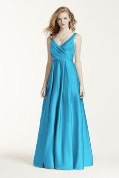 84aeb55e87f8 Satin Tank Ball Gown Bridesmaid Dress with Pockets Style F15741, Mercury, 6