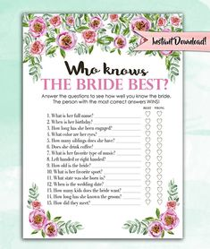 Bridal Shower Game Download - Who Knows the Bride Best - Pink Peony Floral - Instant Printable Digital Download diy Bridal Shower Printables
