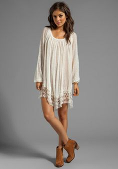 FREE PEOPLE Slip Away Pullover Dress in Ivory Combo - Dresseslong sleve dresses