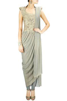 Silver zari and lace applique draped kurta set.