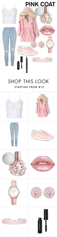 """Pink Coat"" by zaddycellie ❤ liked on Polyvore featuring WithChic, River Island, adidas Originals, Lime Crime, Topshop, Humble Chic, Bobbi Brown Cosmetics and NARS Cosmetics"