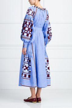 vyshyvanka midi dress vita kin style Ukrainian blue by FanmMon