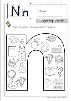 Beginning Sounds - Color It! (lowercase version). Includes separate pages for long vowels too! Fun for preschool and kindergarten! Preschool Letters, Alphabet Activities, Preschool Classroom, Literacy Activities, Tracing Letters, Alphabet Letters, Phonics Worksheets, Kindergarten Worksheets, Letter Worksheets