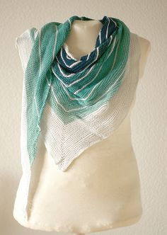 3: Favorite Summer Knitting/Crochet Patter - Stripe Study Shawl (Ravelry: Fait's SeafoamStripeStudyShawl)