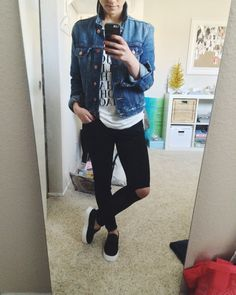 Graphic tee with a jean jacket + ripped leggings and slip ons // Crystalin Marie