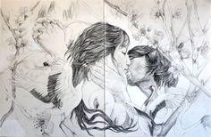 Danza salvaje/ Wild dance  Pencil and gouache on paper  60 x 40 cm