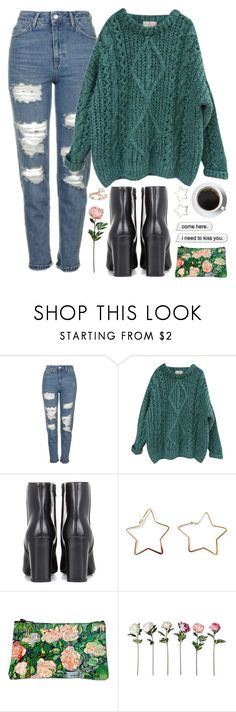 """Sharya"" by brie-the-pixie ❤ liked on Polyvore featuring Topshop, Essentiel, Yves Saint Laurent, Cotton Candy, Saks Fifth Avenue, black, contestentry, blackbooties and polyvorecontest"