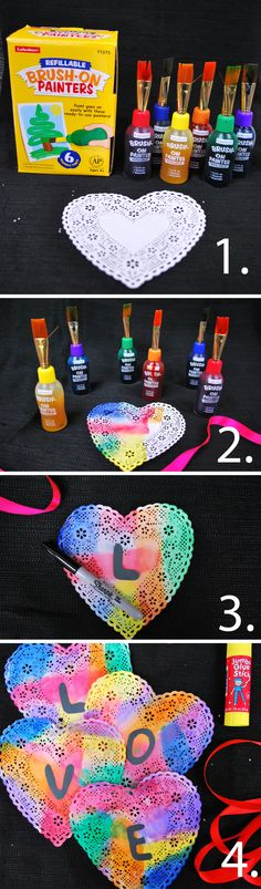 Kids can make beautiful Valentine's Day crafts with Lakeshore's refillable Brush-On Washable Painters! Just add adorable heart doilies!