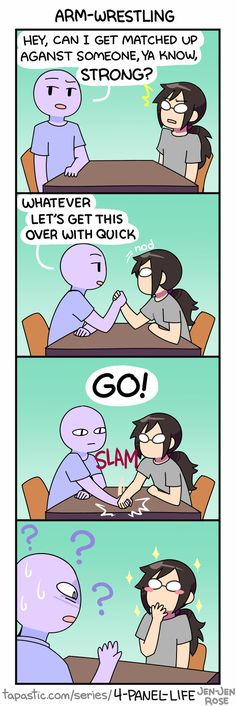 """Check out the comic """"4-Panel Life :: ARM-WRESTLING"""" http://tapastic.com/episode/95569"""