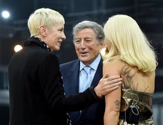 Pin for Later: Stars Party Through Grammys Weekend at Over-the-Top Celebrations  Annie Lennox, Tony Bennett, and Lady Gaga had a smiley chat during Grammys rehearsals.