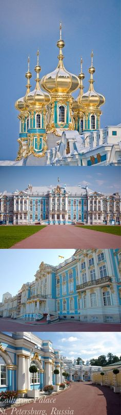 "The CATHERINE PALACE St Petersburg Russia ~ Although the palace is popularly associated with Catherine II (""The Great""), she actually regarded its ""whipped cream"" architecture as old-fashioned. It was originally built in 1717 for Catherine I, the 2nd wife of Peter The Great, as her summer palace."