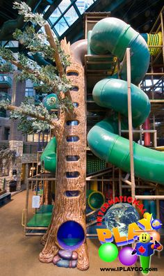 Interested in a wilderness themed playground for your new business?  Great photo of the large indoor themed tree we designed and manufactured in this huge themed indoor playground for the City of Edina. www.iplayco.com or sales@iplayco.com  ~  #weCREATEfun #weBUILDfun