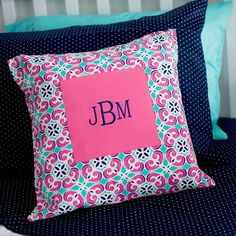 Mia Tile Monogrammed Pillow Cover