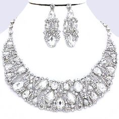 Royal Clear Aurora Borealis AB Crystal Rhinestone Pave Teardrop Crescent Jewel Stone Formal Silver Chunky Necklace Set Elegant Costume Jewelry